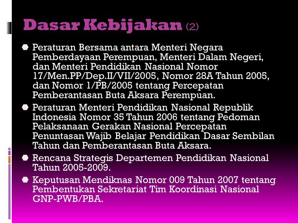 Dasar Kebijakan (2)  Peraturan Bersama antara Menteri Negara Pemberdayaan Perempuan, Menteri Dalam Negeri, dan Menteri Pendidikan Nasional Nomor 17/M