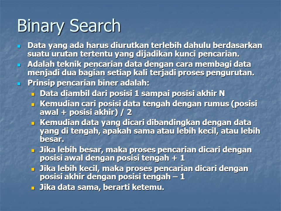 Binary Search Data yang ada harus diurutkan terlebih dahulu berdasarkan suatu urutan tertentu yang dijadikan kunci pencarian. Data yang ada harus diur