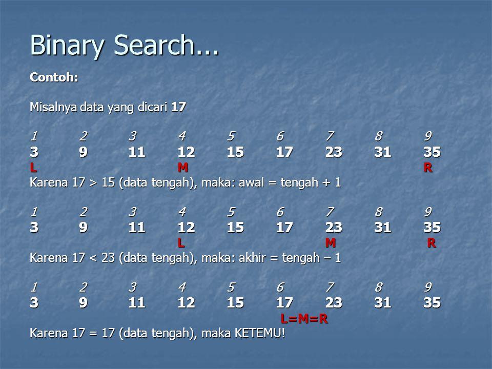 Binary Search... Contoh: Misalnya data yang dicari 17 123456789 3911121517233135 LMR Karena 17 > 15 (data tengah), maka: awal = tengah + 1 123456789 3