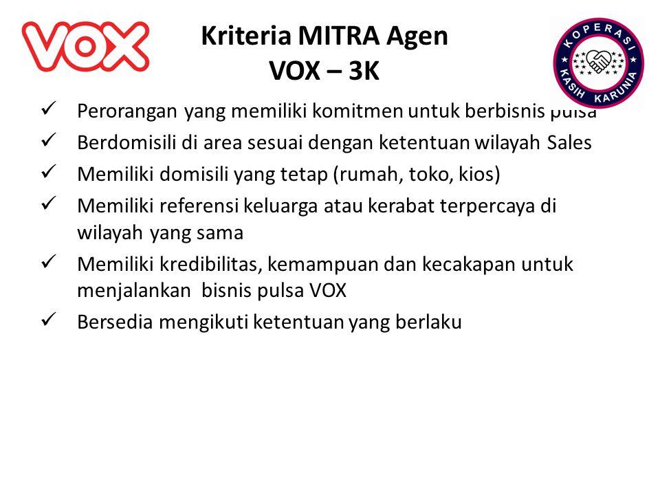 Kriteria MITRA Agen VOX – 3K Perorangan yang memiliki komitmen untuk berbisnis pulsa Berdomisili di area sesuai dengan ketentuan wilayah Sales Memilik