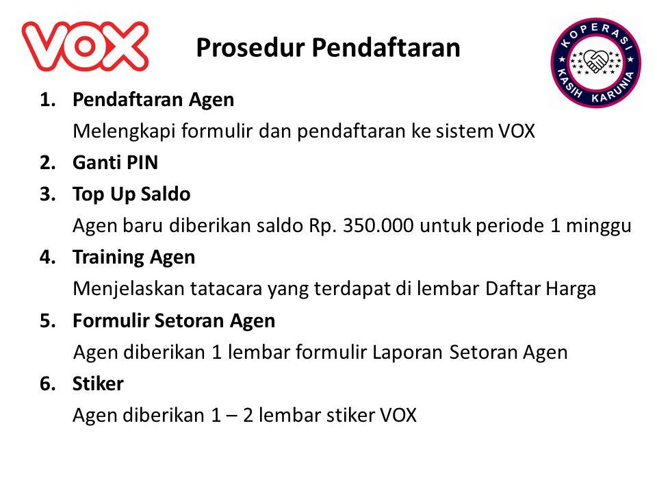 Prosedur Pendaftaran 1.Pendaftaran Agen Melengkapi formulir dan pendaftaran ke sistem VOX 2.Ganti PIN 3.Top Up Saldo Agen baru diberikan saldo Rp. 350