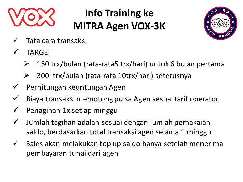 Info Training ke MITRA Agen VOX-3K Tata cara transaksi TARGET  150 trx/bulan (rata-rata5 trx/hari) untuk 6 bulan pertama  300 trx/bulan (rata-rata 1