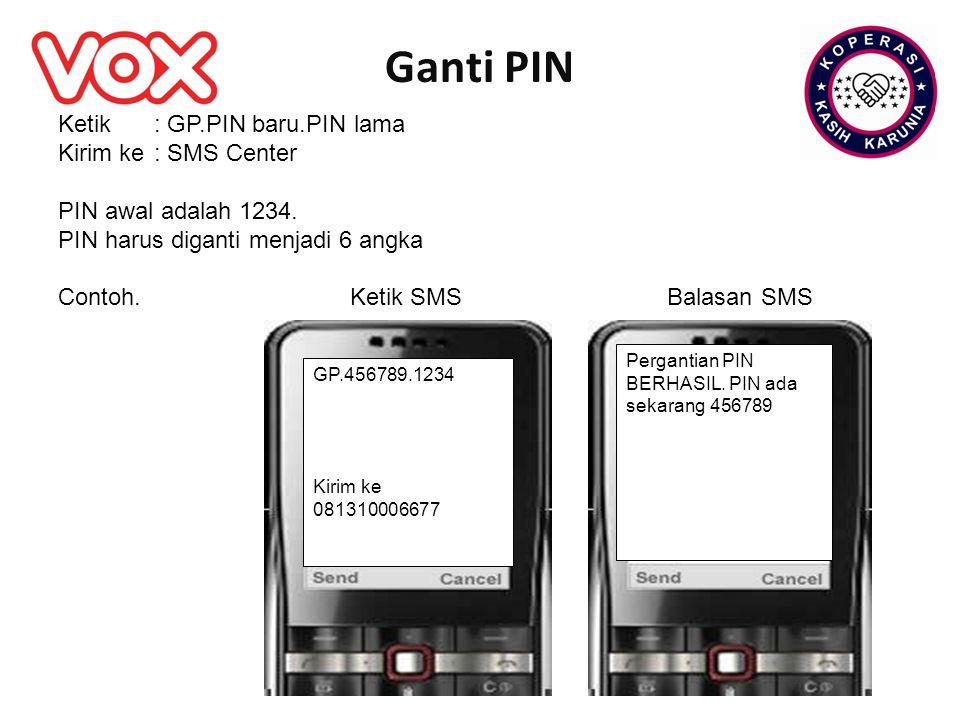 Ganti PIN GP.456789.1234 Kirim ke 081310006677 Ketik : GP.PIN baru.PIN lama Kirim ke: SMS Center PIN awal adalah 1234. PIN harus diganti menjadi 6 ang