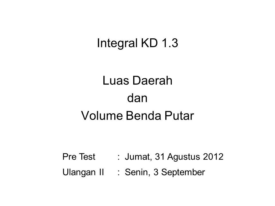 Integral KD 1.3 Luas Daerah dan Volume Benda Putar Pre Test: Jumat, 31 Agustus 2012 Ulangan II: Senin, 3 September