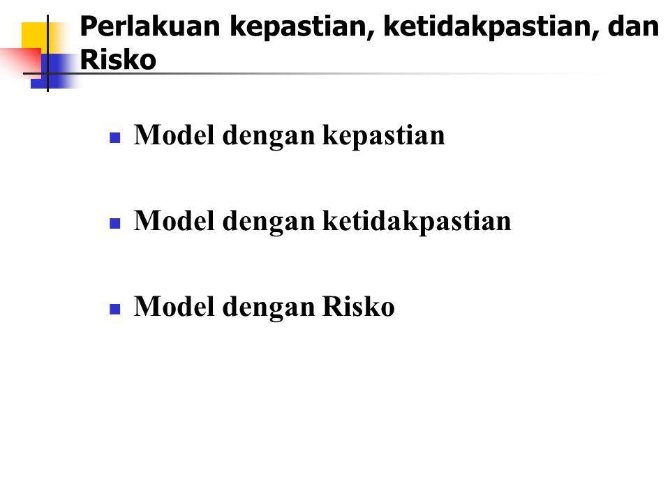 Perlakuan kepastian, ketidakpastian, dan Risko Model dengan kepastian Model dengan ketidakpastian Model dengan Risko