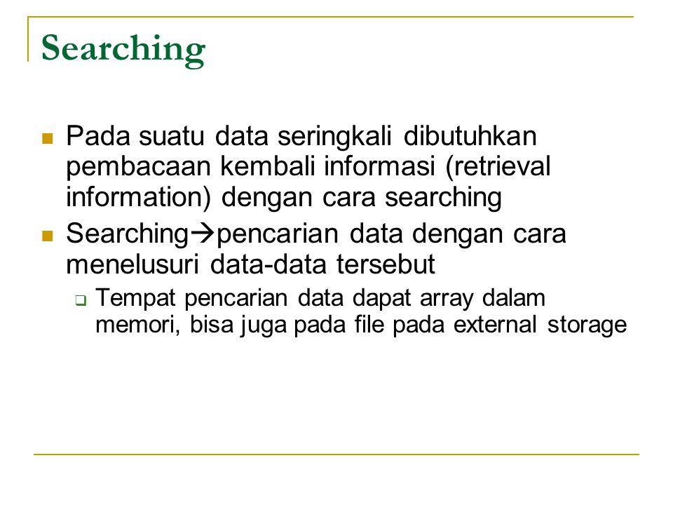 Searching Pada suatu data seringkali dibutuhkan pembacaan kembali informasi (retrieval information) dengan cara searching Searching  pencarian data d