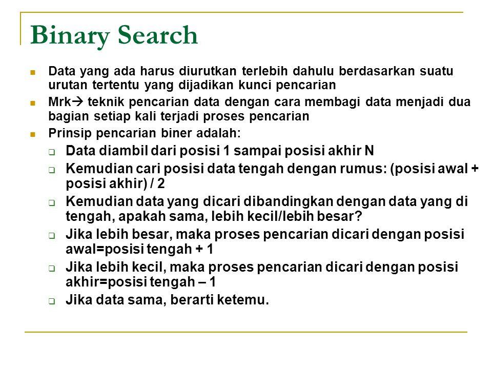 Binary Search Data yang ada harus diurutkan terlebih dahulu berdasarkan suatu urutan tertentu yang dijadikan kunci pencarian Mrk  teknik pencarian da