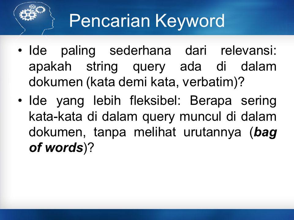 Pencarian Keyword Ide paling sederhana dari relevansi: apakah string query ada di dalam dokumen (kata demi kata, verbatim)? Ide yang lebih fleksibel: