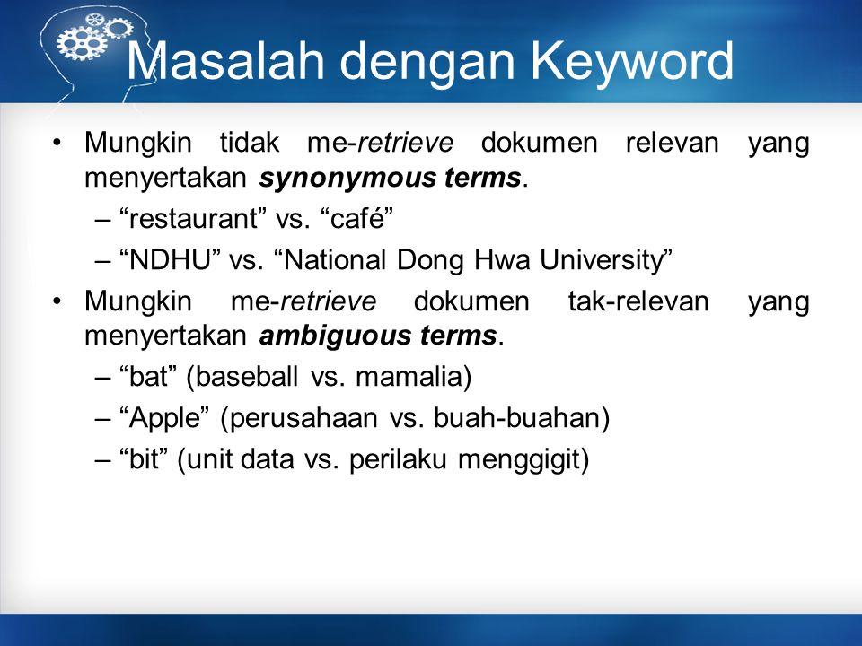 """Masalah dengan Keyword Mungkin tidak me-retrieve dokumen relevan yang menyertakan synonymous terms. – """"restaurant"""" vs. """"café"""" – """"NDHU"""" vs. """"National D"""