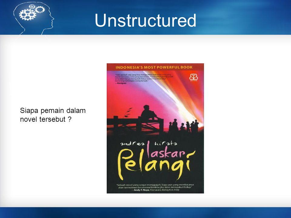 Unstructured Siapa pemain dalam novel tersebut ?