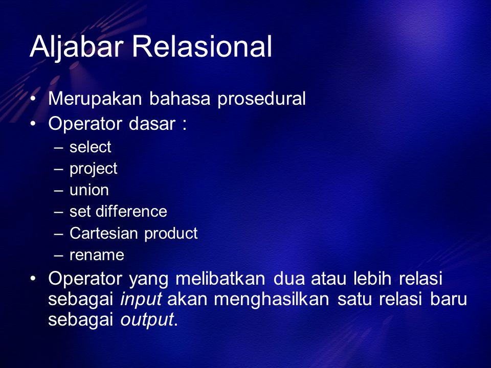 Aljabar Relasional Merupakan bahasa prosedural Operator dasar : –select –project –union –set difference –Cartesian product –rename Operator yang melib