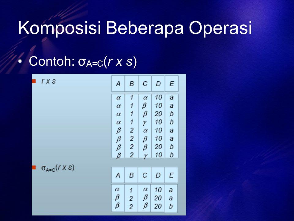 Komposisi Beberapa Operasi Contoh: σ A=C (r x s)