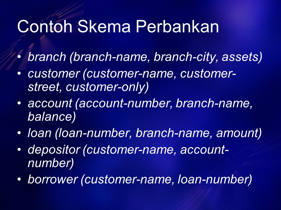 Contoh Skema Perbankan branch (branch-name, branch-city, assets) customer (customer-name, customer- street, customer-only) account (account-number, branch-name, balance) loan (loan-number, branch-name, amount) depositor (customer-name, account- number) borrower (customer-name, loan-number)