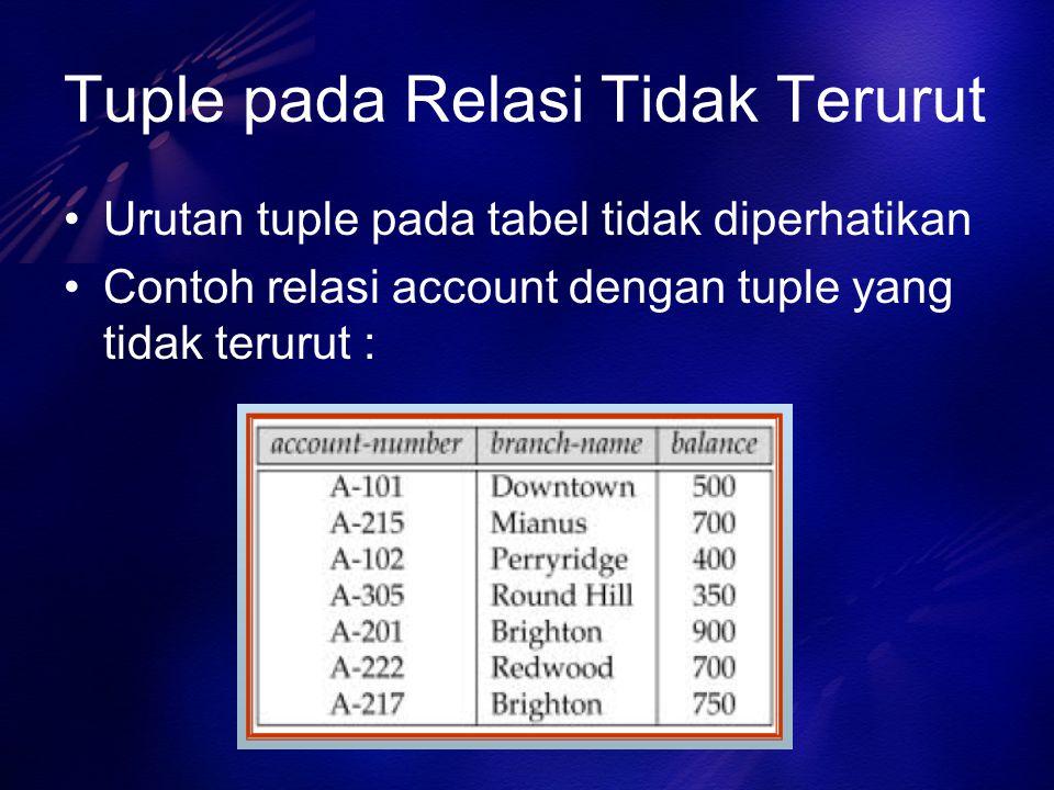 Tuple pada Relasi Tidak Terurut Urutan tuple pada tabel tidak diperhatikan Contoh relasi account dengan tuple yang tidak terurut :