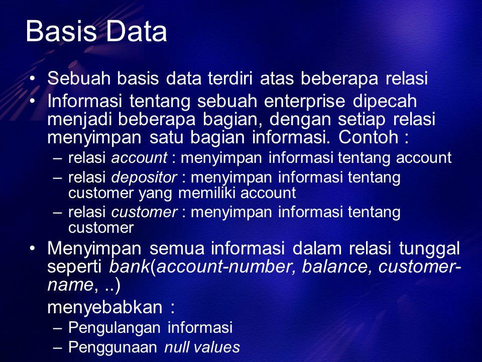 Basis Data Sebuah basis data terdiri atas beberapa relasi Informasi tentang sebuah enterprise dipecah menjadi beberapa bagian, dengan setiap relasi me