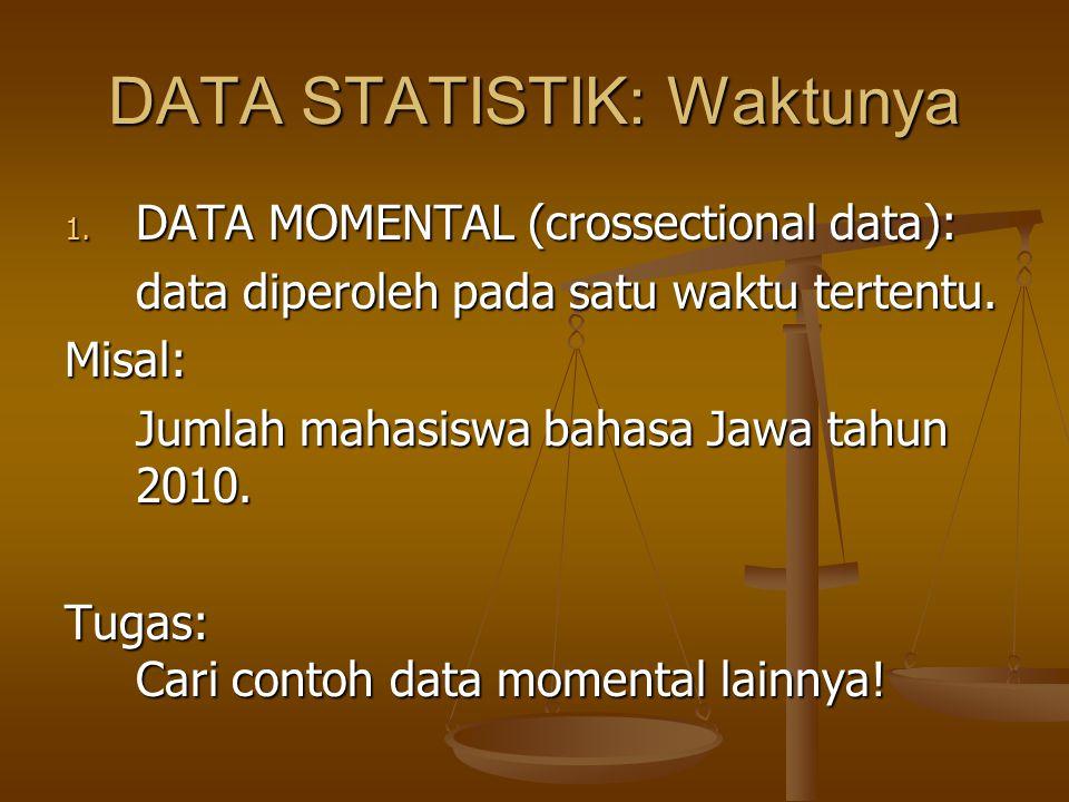 DATA STATISTIK: Waktunya 1. DATA MOMENTAL (crossectional data): data diperoleh pada satu waktu tertentu. Misal: Jumlah mahasiswa bahasa Jawa tahun 201