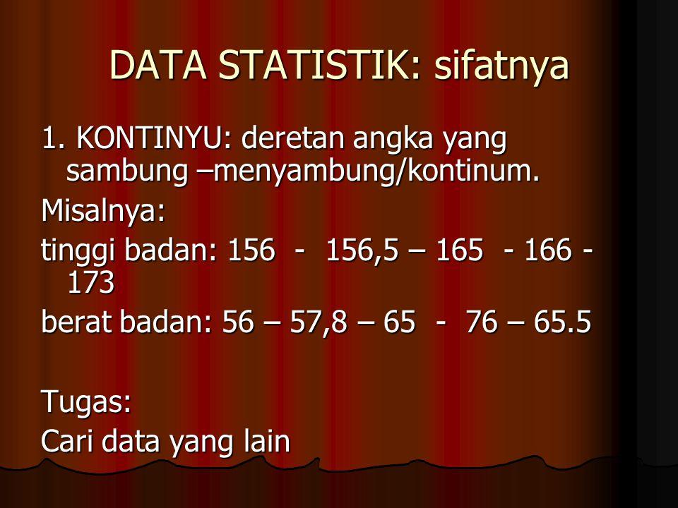 DATA STATISTIK: sifatnya 1. KONTINYU: deretan angka yang sambung –menyambung/kontinum. Misalnya: tinggi badan: 156 - 156,5 – 165 - 166 - 173 berat bad
