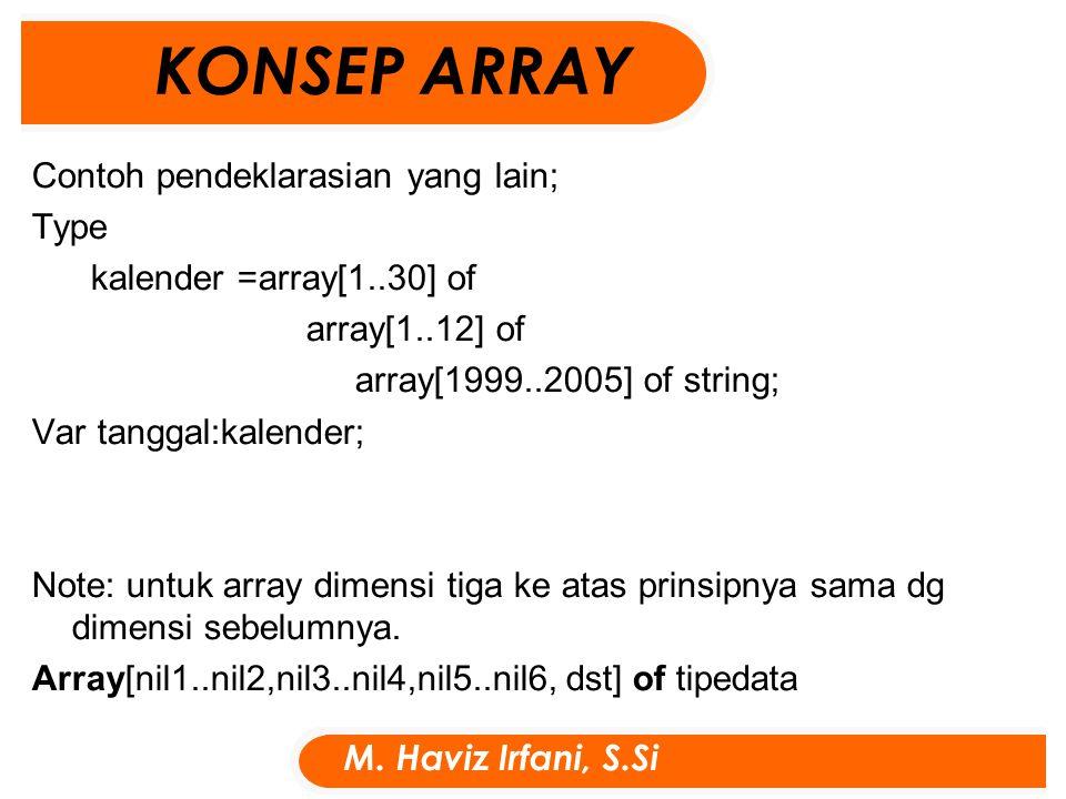 Contoh pendeklarasian yang lain; Type kalender =array[1..30] of array[1..12] of array[1999..2005] of string; Var tanggal:kalender; Note: untuk array dimensi tiga ke atas prinsipnya sama dg dimensi sebelumnya.