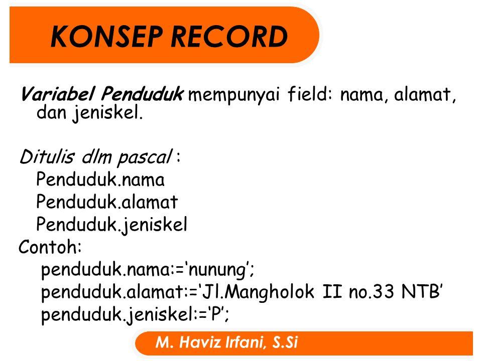 Variabel Penduduk mempunyai field: nama, alamat, dan jeniskel.