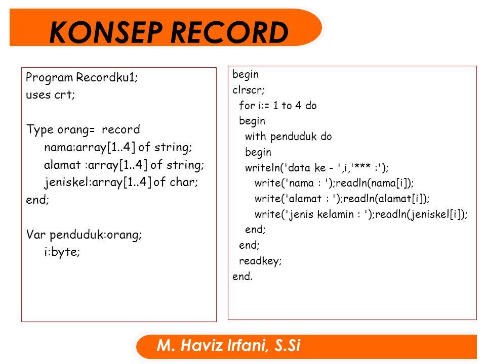 Program Recordku1; uses crt; Type orang= record nama:array[1..4] of string; alamat :array[1..4] of string; jeniskel:array[1..4] of char; end; Var pend