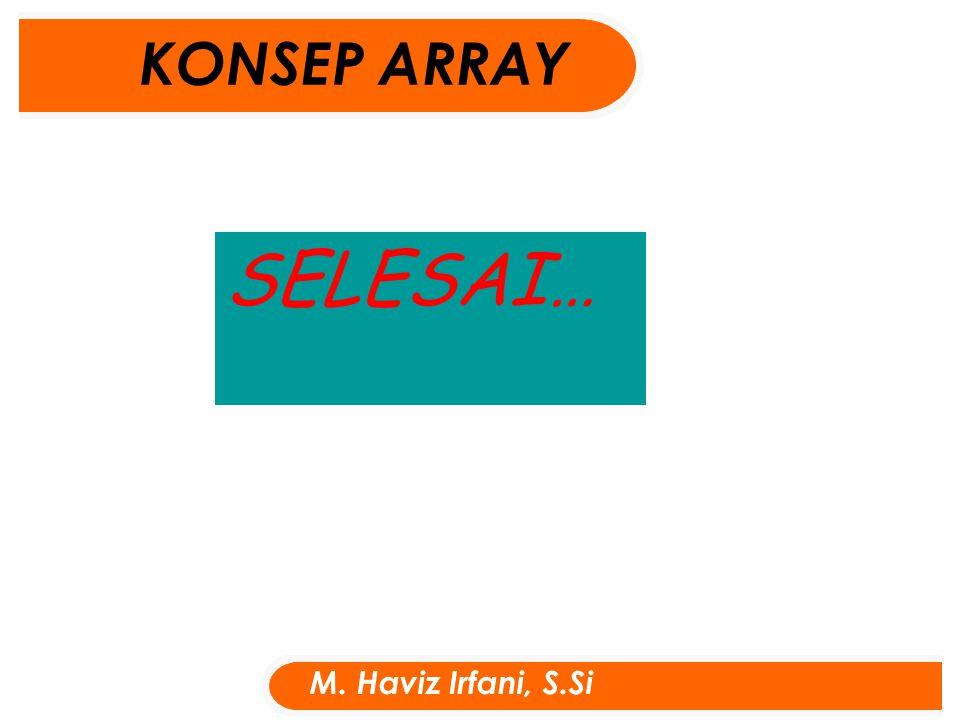 SELESAI… KONSEP ARRAY M. Haviz Irfani, S.Si