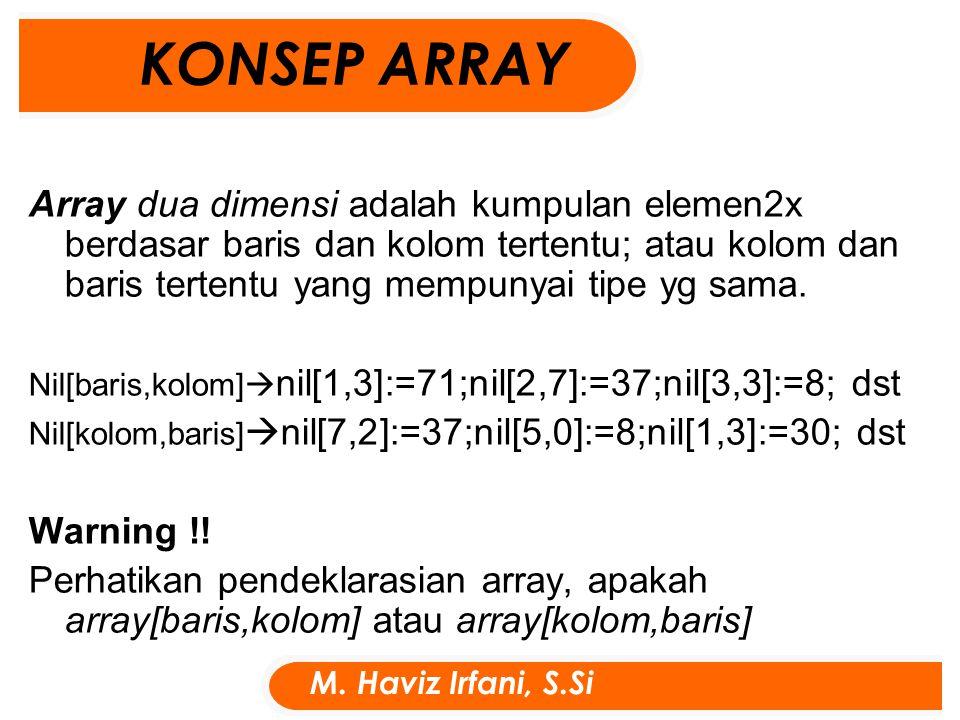 Array dua dimensi adalah kumpulan elemen2x berdasar baris dan kolom tertentu; atau kolom dan baris tertentu yang mempunyai tipe yg sama.
