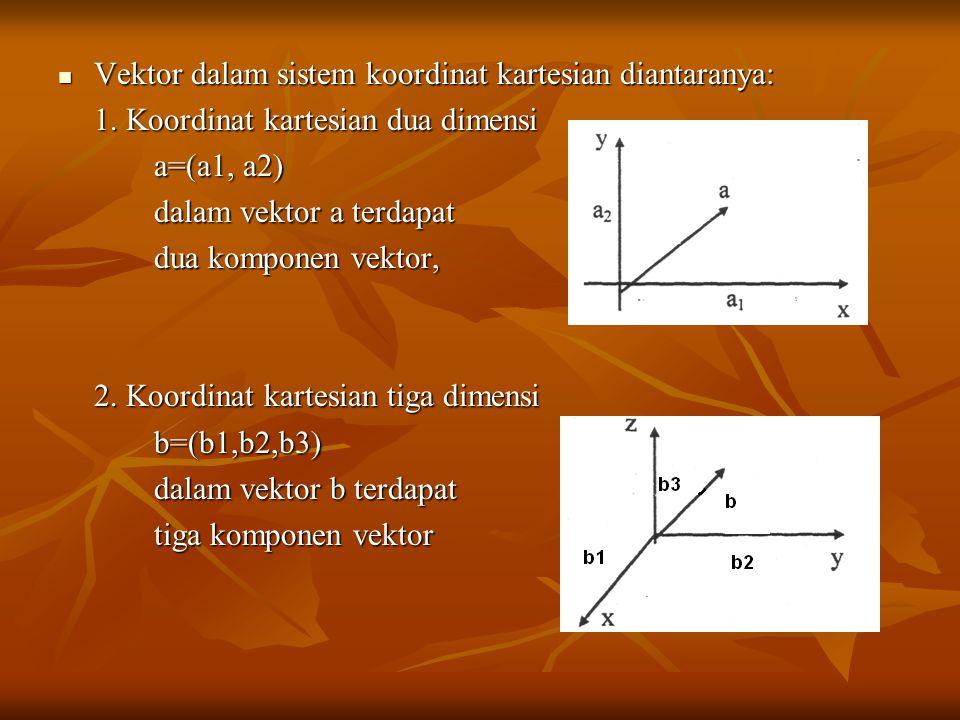 Vektor dalam sistem koordinat kartesian diantaranya: Vektor dalam sistem koordinat kartesian diantaranya: 1. Koordinat kartesian dua dimensi a=(a1, a2