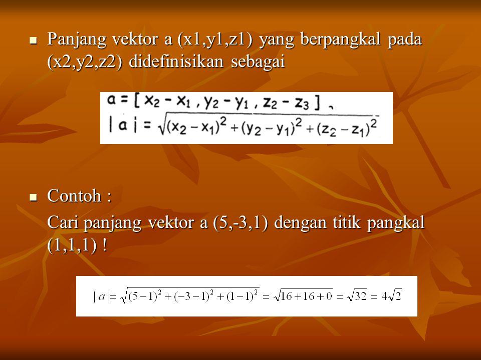 Panjang vektor a (x1,y1,z1) yang berpangkal pada (x2,y2,z2) didefinisikan sebagai Panjang vektor a (x1,y1,z1) yang berpangkal pada (x2,y2,z2) didefinisikan sebagai Contoh : Contoh : Cari panjang vektor a (5,-3,1) dengan titik pangkal (1,1,1) !