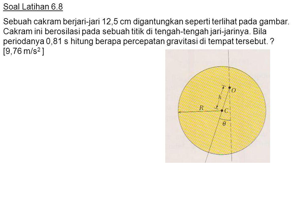 Soal Latihan 6.8 Sebuah cakram berjari-jari 12,5 cm digantungkan seperti terlihat pada gambar. Cakram ini berosilasi pada sebuah titik di tengah-tenga