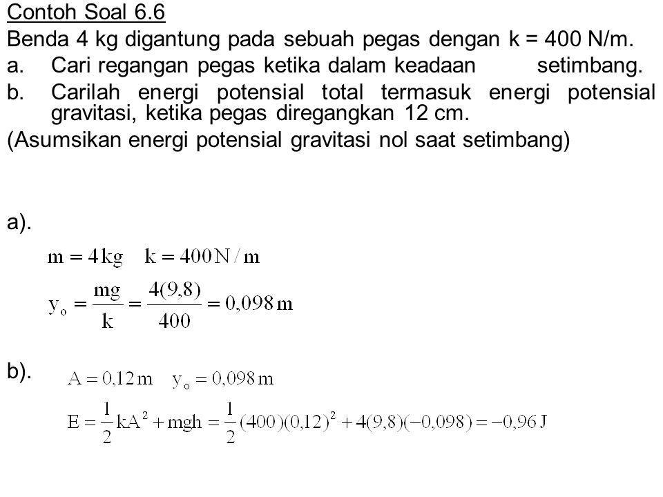 a). b). Contoh Soal 6.6 Benda 4 kg digantung pada sebuah pegas dengan k = 400 N/m. a.Cari regangan pegas ketika dalam keadaan setimbang. b.Carilah ene