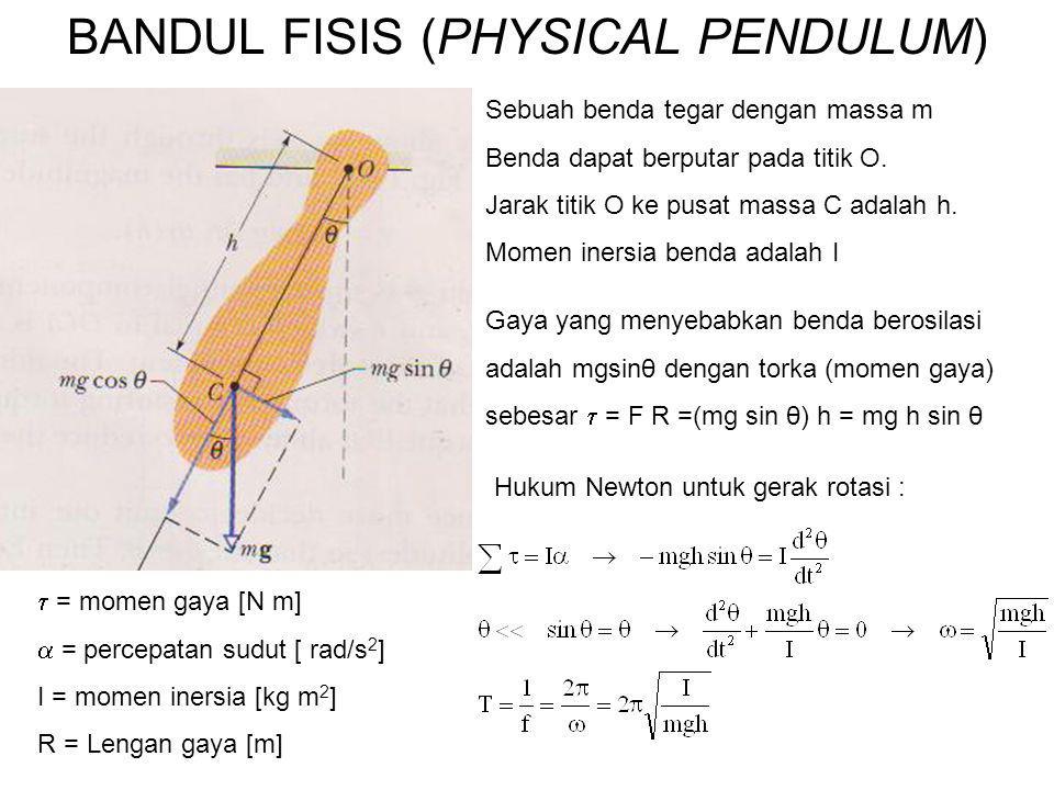 BANDUL FISIS (PHYSICAL PENDULUM) Sebuah benda tegar dengan massa m Benda dapat berputar pada titik O. Jarak titik O ke pusat massa C adalah h. Momen i