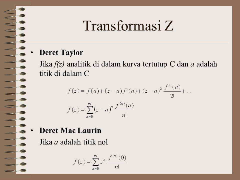 Transformasi Z Deret TaylorDeret Taylor Jika f(z) analitik di dalam kurva tertutup C dan a adalah titik di dalam C Deret Mac Laurin Jika a adalah titi