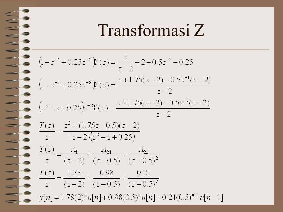 Diketahui y[n] – 0.5 y[n-1] = x[n] a.Cari Fungsi Sistem H(z) b.Cari Tanggapan pulse h[n] c.Cari zero state response jika x[n] = u[n] d.Cari tanggapan lengkap jika x[n] = u[n] dan y[-1]=2