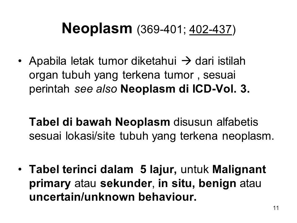 Neoplasm (369-401; 402-437) Apabila letak tumor diketahui  dari istilah organ tubuh yang terkena tumor, sesuai perintah see also Neoplasm di ICD-Vol.