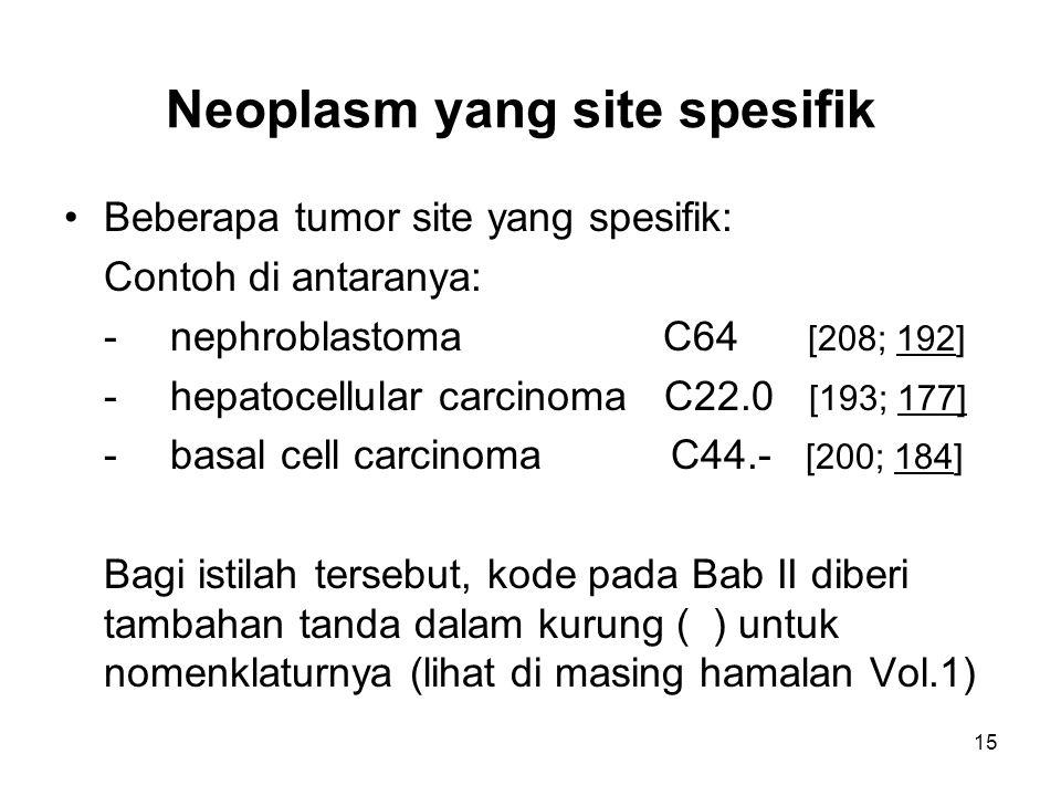 Neoplasm yang site spesifik Beberapa tumor site yang spesifik: Contoh di antaranya: -nephroblastoma C64 [208; 192] -hepatocellular carcinoma C22.0 [19