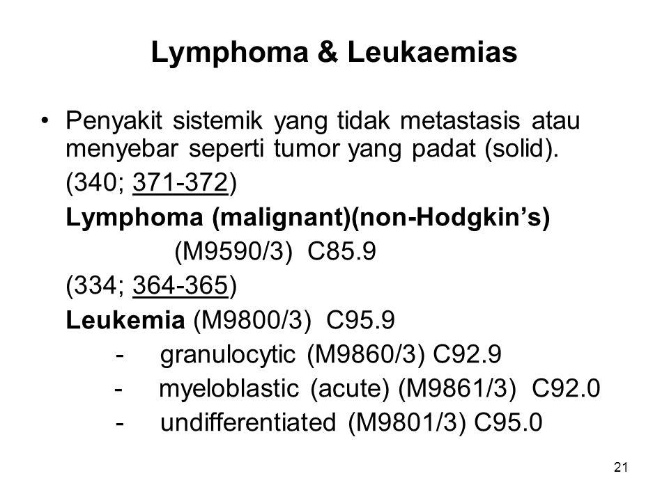 Lymphoma & Leukaemias Penyakit sistemik yang tidak metastasis atau menyebar seperti tumor yang padat (solid). (340; 371-372) Lymphoma (malignant)(non-