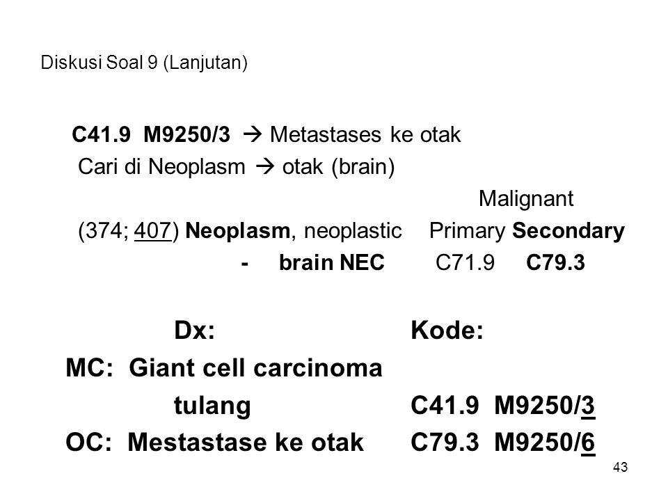 Diskusi Soal 9 (Lanjutan) C41.9 M9250/3  Metastases ke otak Cari di Neoplasm  otak (brain) Malignant (374; 407) Neoplasm, neoplastic Primary Seconda