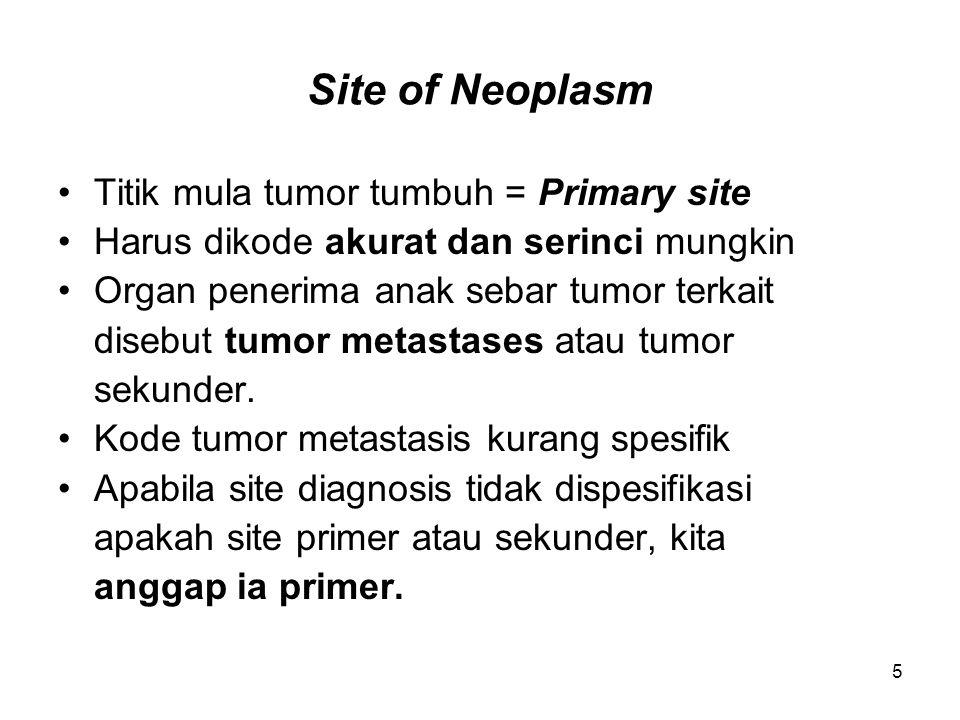 Site of Neoplasm Titik mula tumor tumbuh = Primary site Harus dikode akurat dan serinci mungkin Organ penerima anak sebar tumor terkait disebut tumor