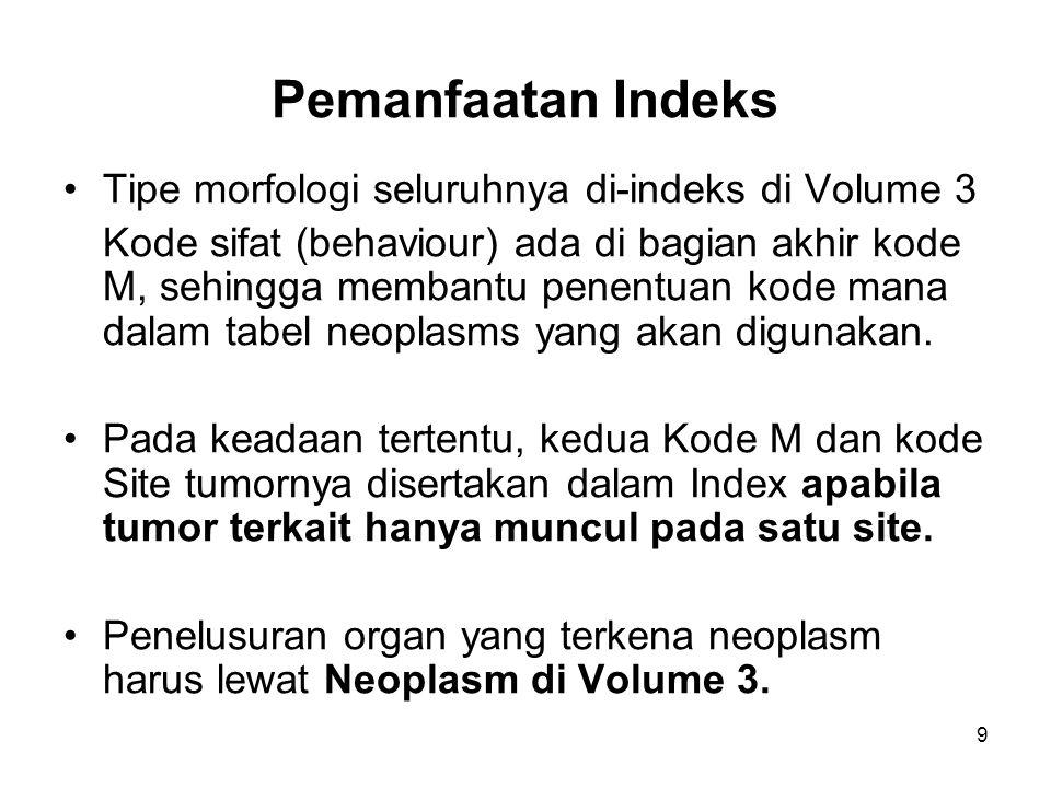 Pemanfaatan Indeks Tipe morfologi seluruhnya di-indeks di Volume 3 Kode sifat (behaviour) ada di bagian akhir kode M, sehingga membantu penentuan kode