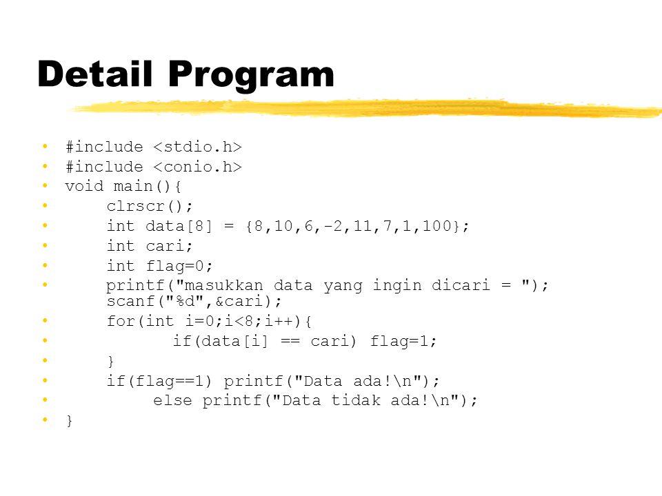 Detail Program #include void main(){ clrscr(); int data[8] = {8,10,6,-2,11,7,1,100}; int cari; int flag=0; printf(