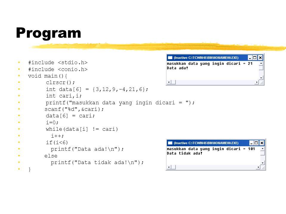 Program #include void main(){ clrscr(); int data[6] = {3,12,9,-4,21,6}; int cari,i; printf(