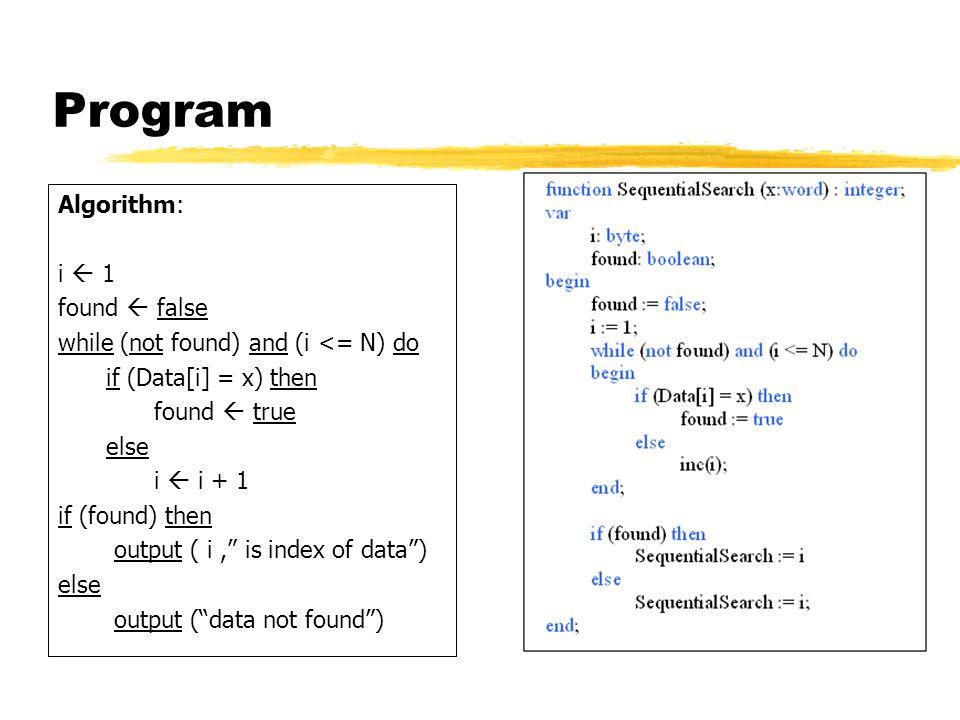 Program Algorithm: i  1 found  false while (not found) and (i <= N) do if (Data[i] = x) then found  true else i  i + 1 if (found) then output ( i,