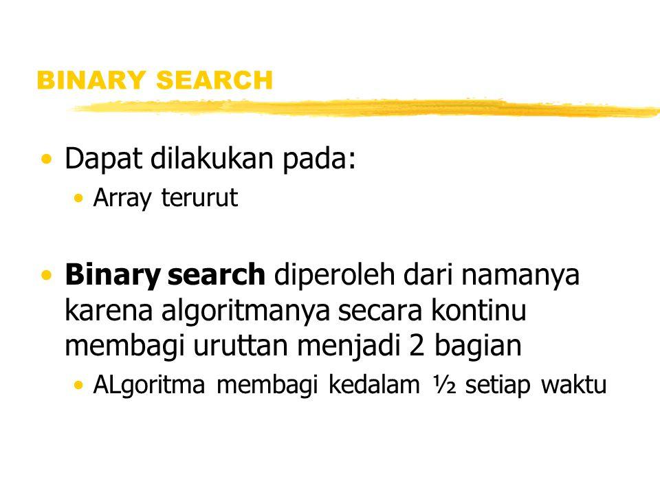 BINARY SEARCH Dapat dilakukan pada: Array terurut Binary search diperoleh dari namanya karena algoritmanya secara kontinu membagi uruttan menjadi 2 ba