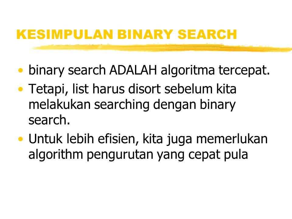 KESIMPULAN BINARY SEARCH binary search ADALAH algoritma tercepat. Tetapi, list harus disort sebelum kita melakukan searching dengan binary search. Unt