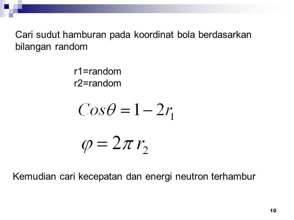 10 Cari sudut hamburan pada koordinat bola berdasarkan bilangan random r1=random r2=random Kemudian cari kecepatan dan energi neutron terhambur