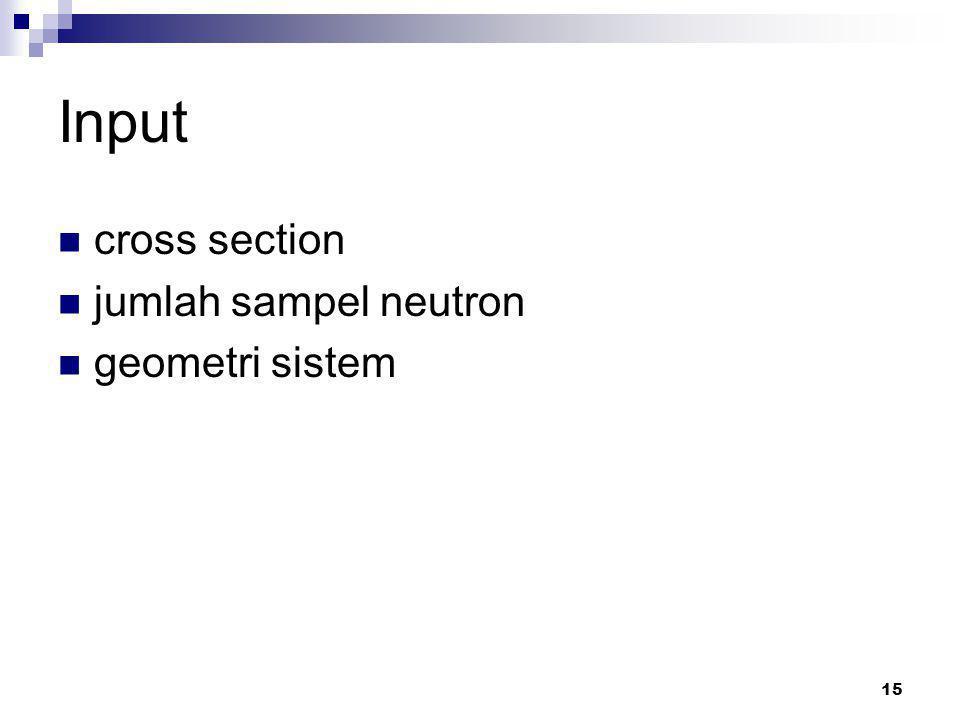 15 Input cross section jumlah sampel neutron geometri sistem