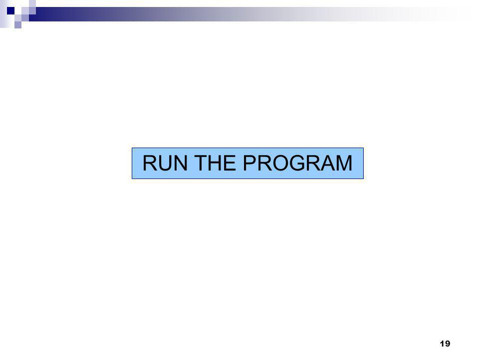 19 RUN THE PROGRAM