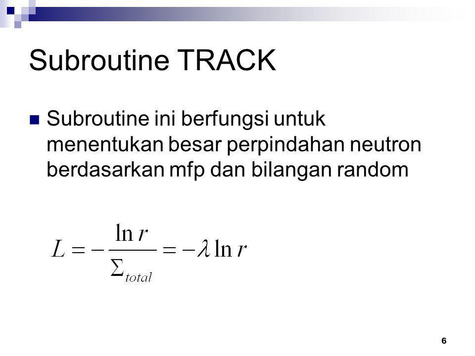 6 Subroutine TRACK Subroutine ini berfungsi untuk menentukan besar perpindahan neutron berdasarkan mfp dan bilangan random