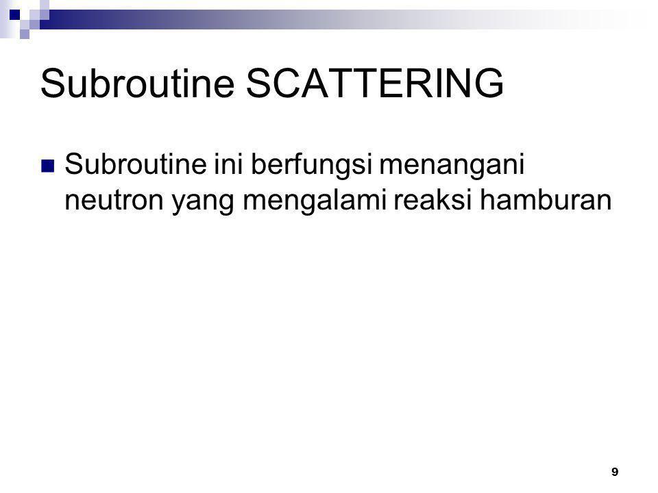 9 Subroutine SCATTERING Subroutine ini berfungsi menangani neutron yang mengalami reaksi hamburan