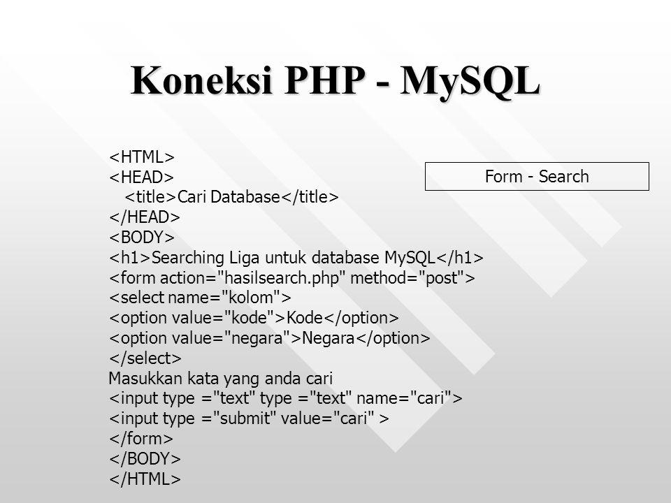 Cari Database Searching Liga untuk database MySQL Kode Negara Masukkan kata yang anda cari Koneksi PHP - MySQL Form - Search